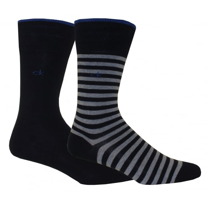 Calvin Klein 2-Pack Bar Stripe Socks, Navy/Heather