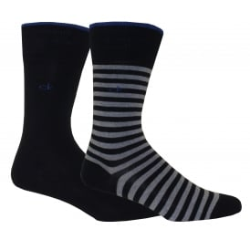 2-Pack Bar Stripe Socks, Navy/Heather
