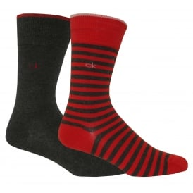 2-Pack Bar Stripe Socks, Red/Graphite Heather