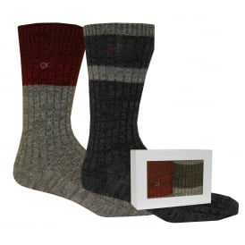 2-Pack Boot Socks Gift Box, Black/Grey/Red