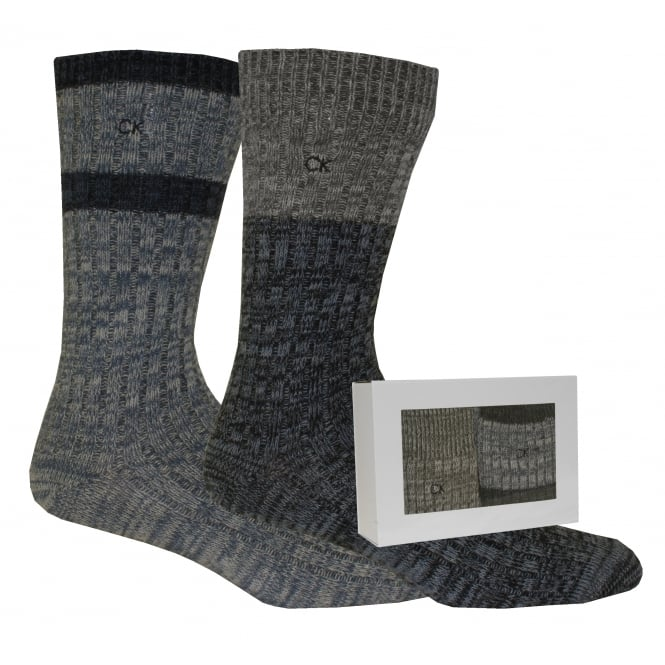 Calvin Klein 2-Pack Boot Socks Gift Box, Navy/Grey/Blue