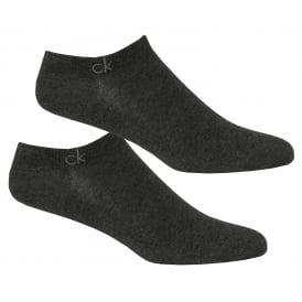 2-Pack Casual Trainer Socks, Charcoal Heather