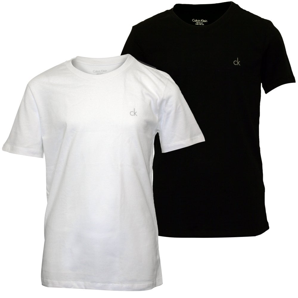 Calvin Klein Boys 2 Pack Ck Logo Cotton T Shirts Black White Underu