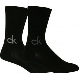 "2-Pack ""ck"" Logo Sports Socks, Black"