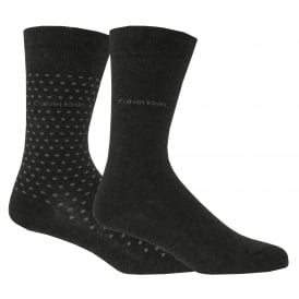 2-Pack Dots Flat-Knit Socks, Graphite Heather