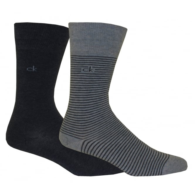 Calvin Klein 2-Pack Fine Stripe Flat-Knit Socks, Denim/Grey Heather