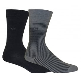 2-Pack Fine Stripe Flat-Knit Socks, Denim/Grey Heather