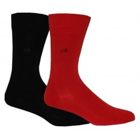2-Pack Flat-Knit Socks, Red/Black