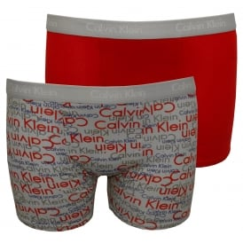 2-Pack Overlapping Logo Boys Boxer Trunks, Grey/Red