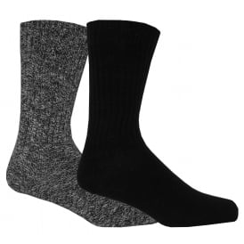 2-Pack Ribbed Cotton Boot Socks, Black