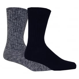 2-Pack Ribbed Cotton Boot Socks, Navy