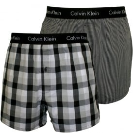 2-Pack Woven Plaid Boxer Shorts Slim-Fit, Black/Grey