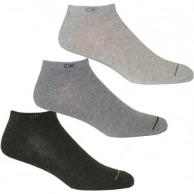 3-Pack Casual Trainer Socks, Assorted Grey