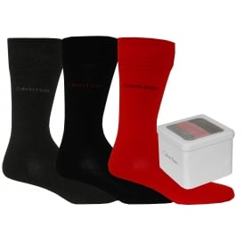 3-Pack Combed Cotton Socks Gift Tin, Black/Grey/Red