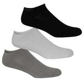 3-Pack Coolmax Cotton Cotton Cushioned Trainer Socks, Black/White/Grey