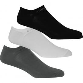 3-Pack Coolmax Cotton Trainer Socks, Black/White/Grey