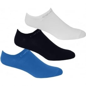 3-Pack Coolmax Cotton Trainer Socks, Blue/White/Navy