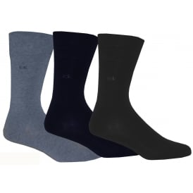 3-Pack Flat Knit Socks, Assorted Blues