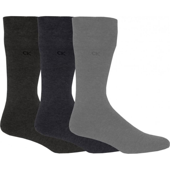 Calvin Klein 3-Pack Flat-Knit Socks, Assorted Greys