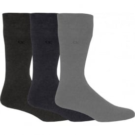 3-Pack Flat-Knit Socks, Assorted Greys