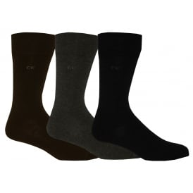 3-Pack Flat Knit Socks, Brown/Grey/Black