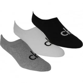 3-Pack Logo Liner Socks, Black/White/Grey