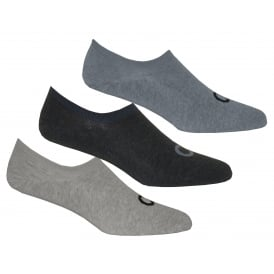 3-Pack Logo Liner Socks, Grey/Blue/Navy Denims