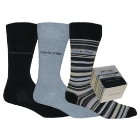 3-Pack Multi-Stripe Combed Cotton Socks Gift Box, Navy/Grey