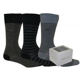 3-Pack Multi-stripe Socks Gift Tin, Navy/Graphite Mix