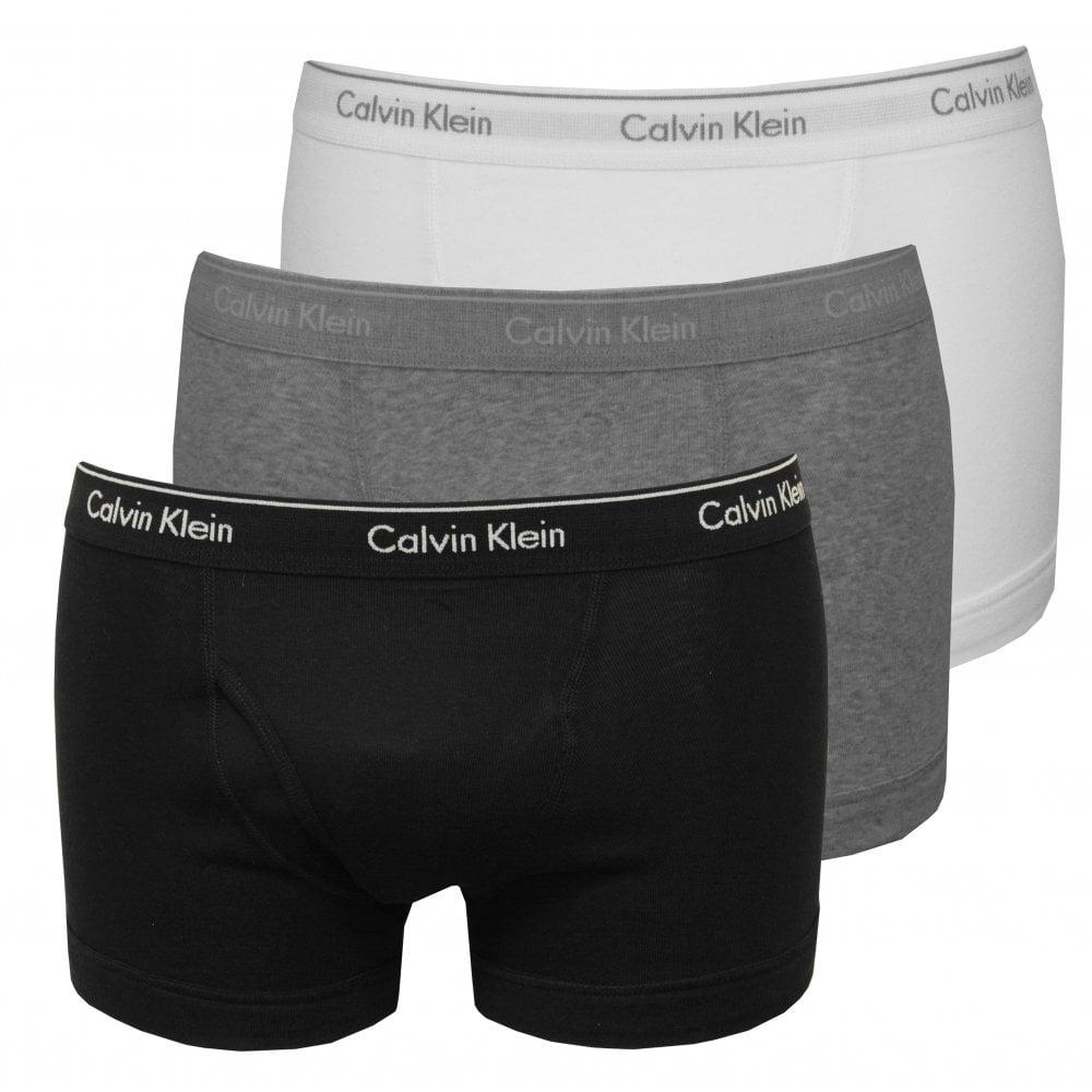 a2c9f85ddcae Calvin Klein 3-Pack Pure Cotton Boxer Trunks Black/White/Grey   UnderU