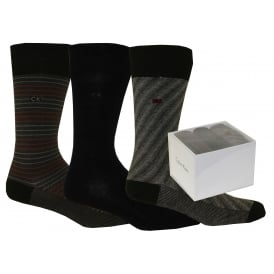 3-Pack Striped Socks Gift Box, Black