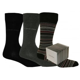 3-Pack Stripes & Solid Socks Gift Box, Black/Grey Mix
