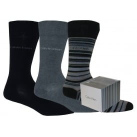 3-Pack Stripes & Solid Socks Gift Box, Navy/Grey Mix