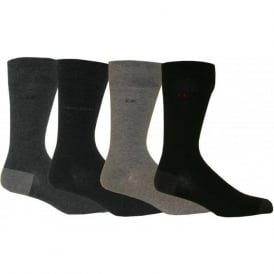 4-Pack Flat-Knit Assortment Socks, Black/Grey