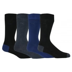 4-Pack Heel & Toe Combed Cotton Socks, Assorted Blues