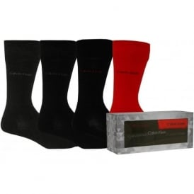 4-Pack Holiday Gift Box Socks, Black/Grey/Red