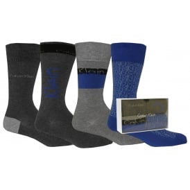 4-Pack Multi-logo Jeans Crew Socks Gift Box, Charcoal/Blue