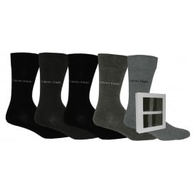 5-Pack Solid Socks Gift Box, Black/Grey/Charcoal Mix