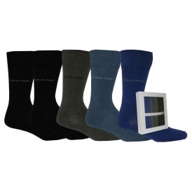 5-Pack Solid Socks Gift Drawer, Blue/Navy/Grey/Black