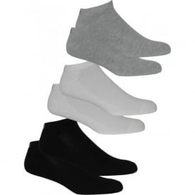 6-Pack Cushioned Trainer Socks, White/Grey/Black