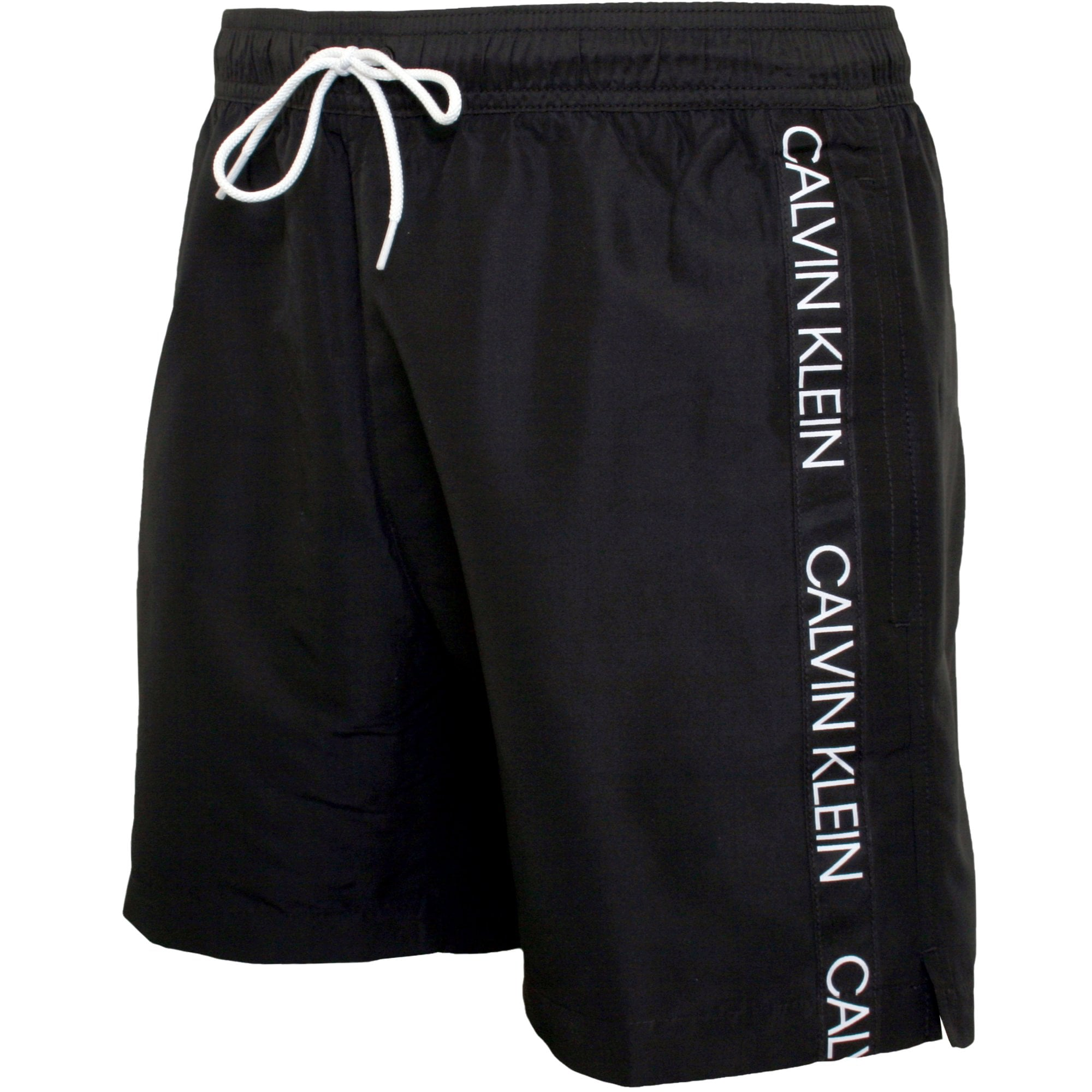 Side Tape Drawstring Swim Shorts (Black