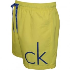 CK One Swim Shorts with Logo Detail in Yellow