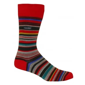 Combed Cotton Barcode Multi-stripe Socks, Red