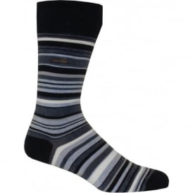 Cotton Rich Barcode Striped Socks, Navy/Pale Blue