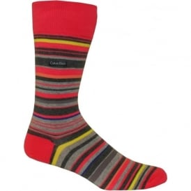 Cotton UPC Striped Socks, Punch Pink/Grey