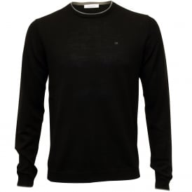 Crew-Neck Fitted Knit Sweater, Black