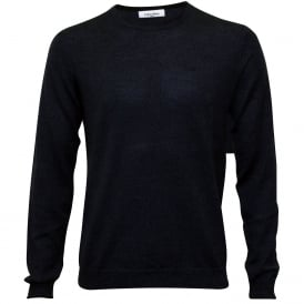Crew-Neck Fitted Knit Sweater, Indigo Mouline