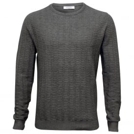 Crew-Neck Ribbed Knit Sweater, Grey Heather