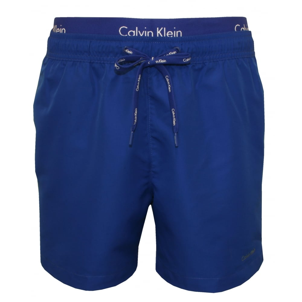 calvin klein double waistband swim shorts blue underu. Black Bedroom Furniture Sets. Home Design Ideas