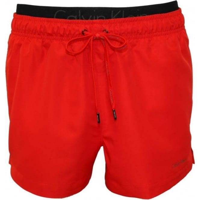 73fbfa7324 Calvin Klein Double Waistband Swim Shorts, Red | UnderU